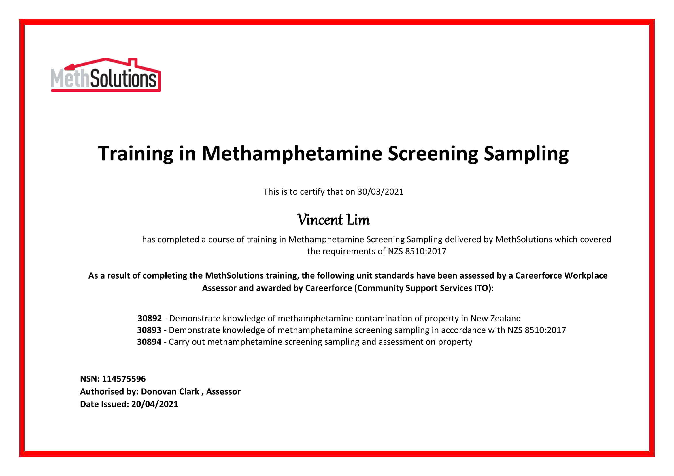 Certification Meth Sampling NZS 8510:2017